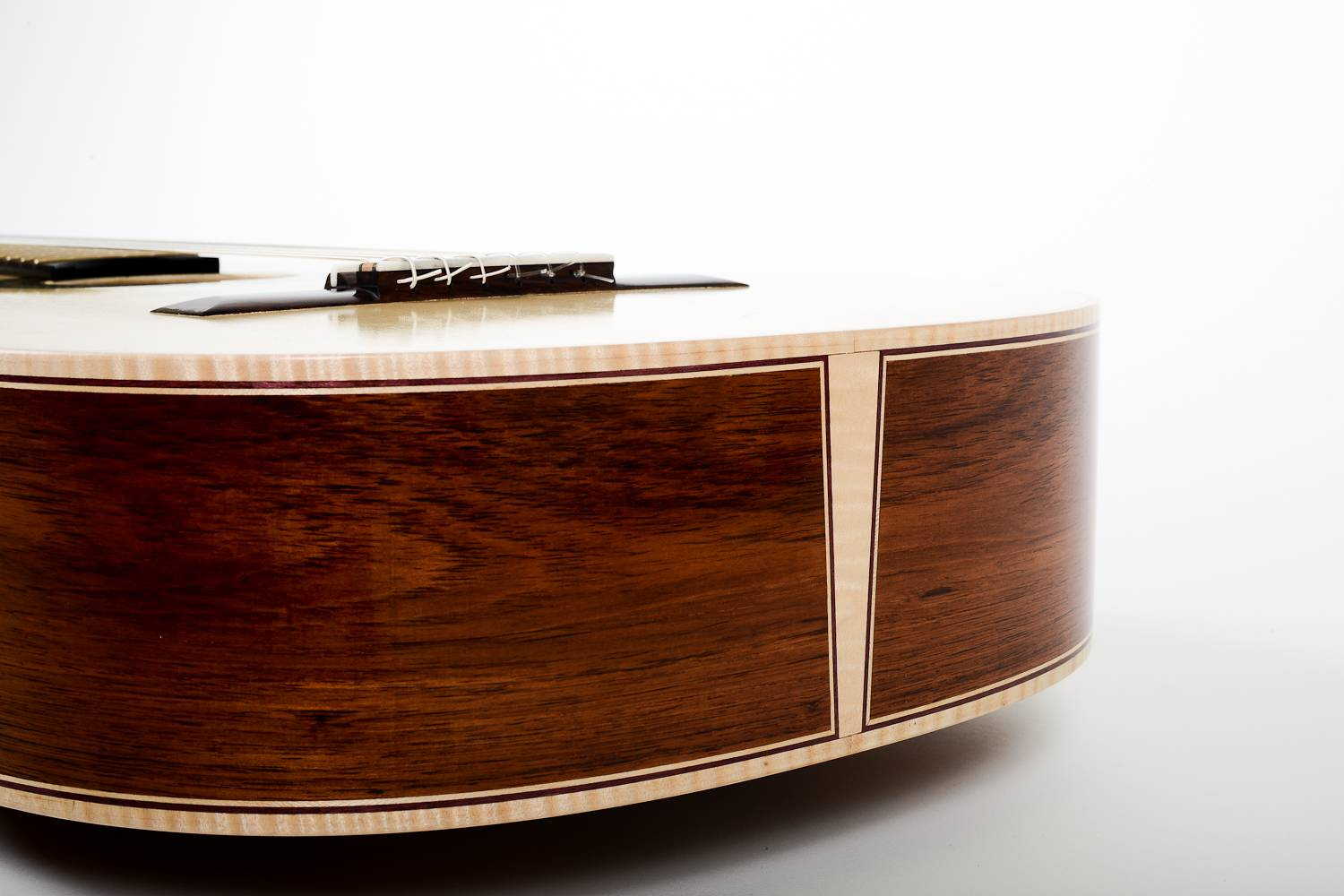 Flamed Maple Binding with Purple Heart Accent