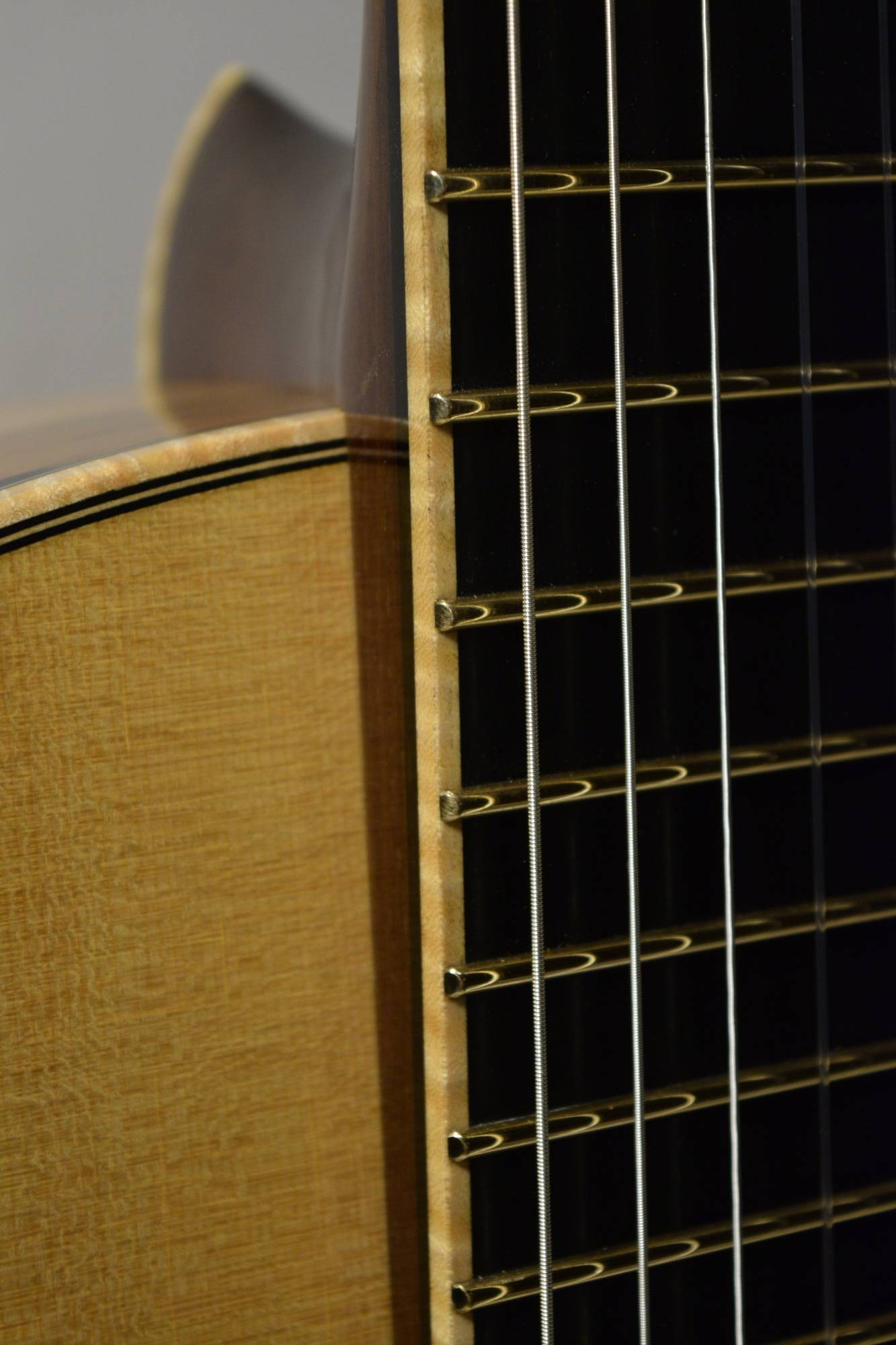 """These gold evo frets are .057"""" high, easing playability and decreasing fretboard ware"""