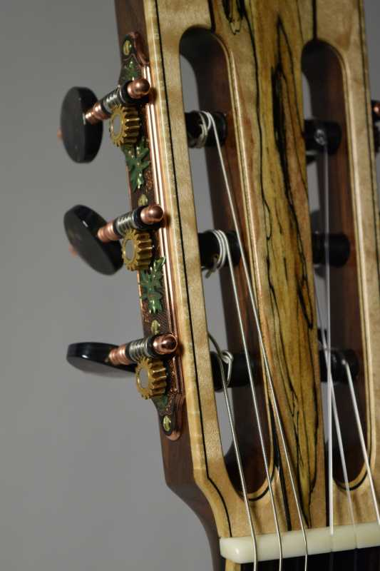 Like the back, the headstock is four pieces