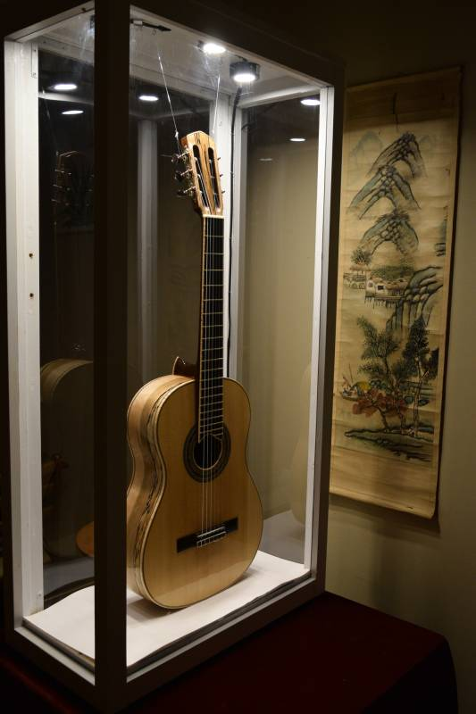 This display case protect the guitar during an art show where I displayed in a local brewery